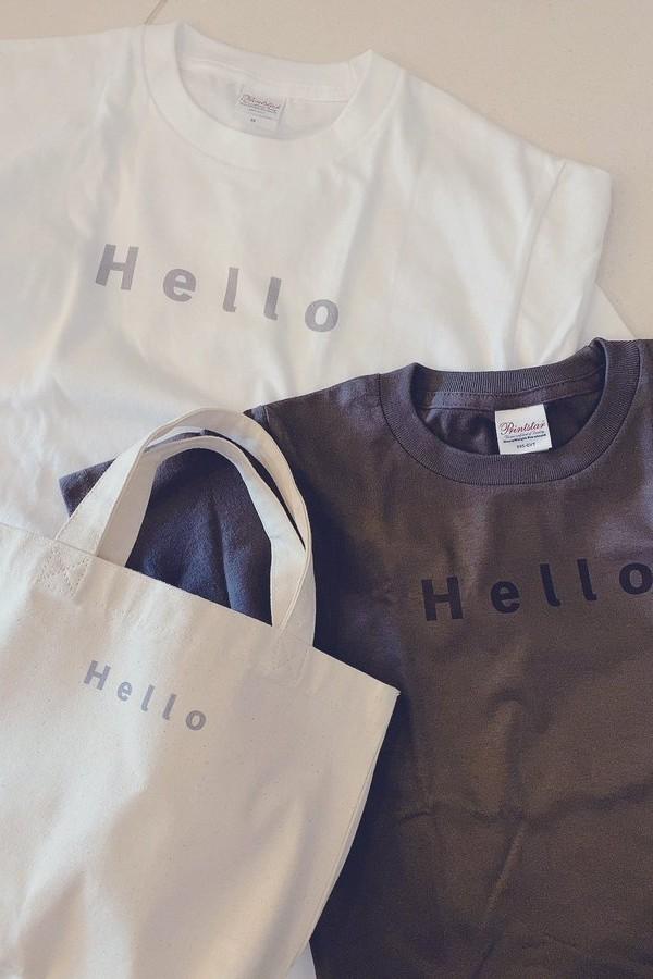 Hello、Tシャツとトートバッグ